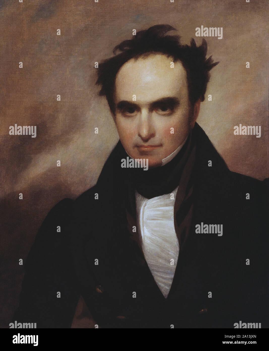 Portrait peint de l'homme politique Daniel Webster. Banque D'Images