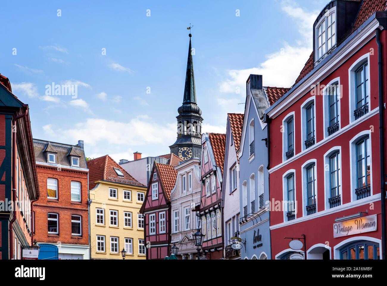 Maisons à pans de bois à l'ancien port hanséatique, Stade, Basse-Saxe, Allemagne, Europe Banque D'Images