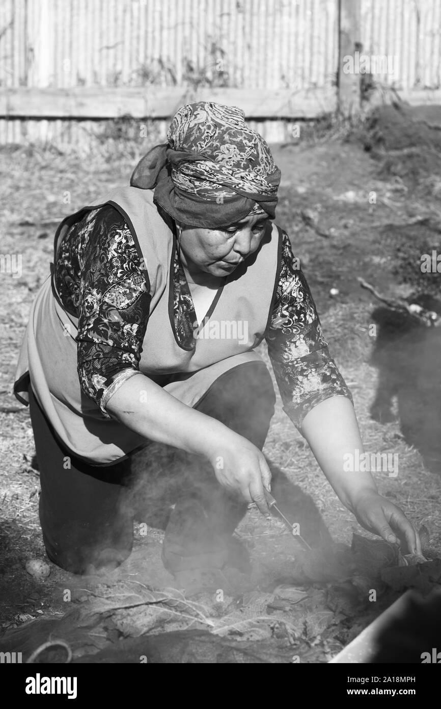 ACHAO, CHILI - Février 6, 2016: une femme non identifiée de découvrir le plat traditionnel de Chilotan Curanto al hoyo au Muestras Gastronomicas 2016 Banque D'Images