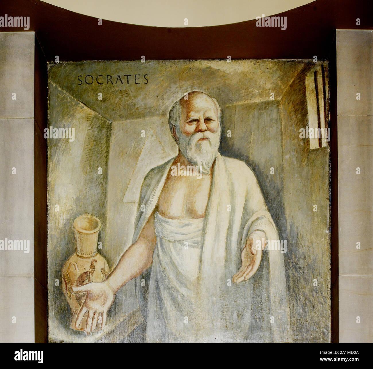 Peinture à l'huile situé dans Socrates escalier de la Grande Salle, Ministère de la Justice, Washington, D.C. Banque D'Images
