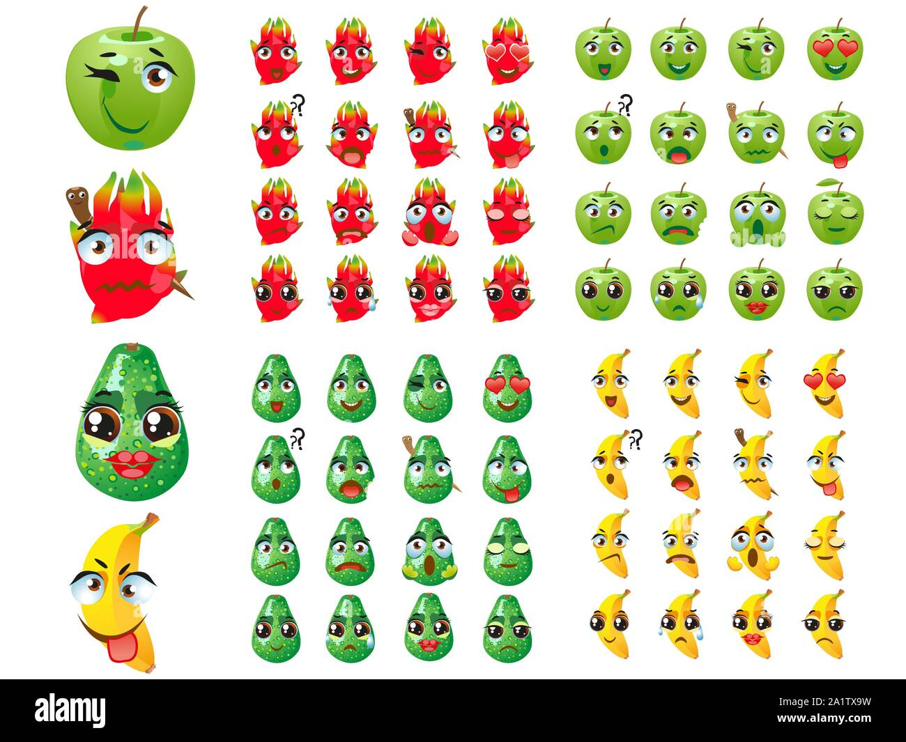 Ensemble De Fruits Expression D Emoticones Emoji Pitaya Banane Pomme Poire Image Vectorielle Stock Alamy