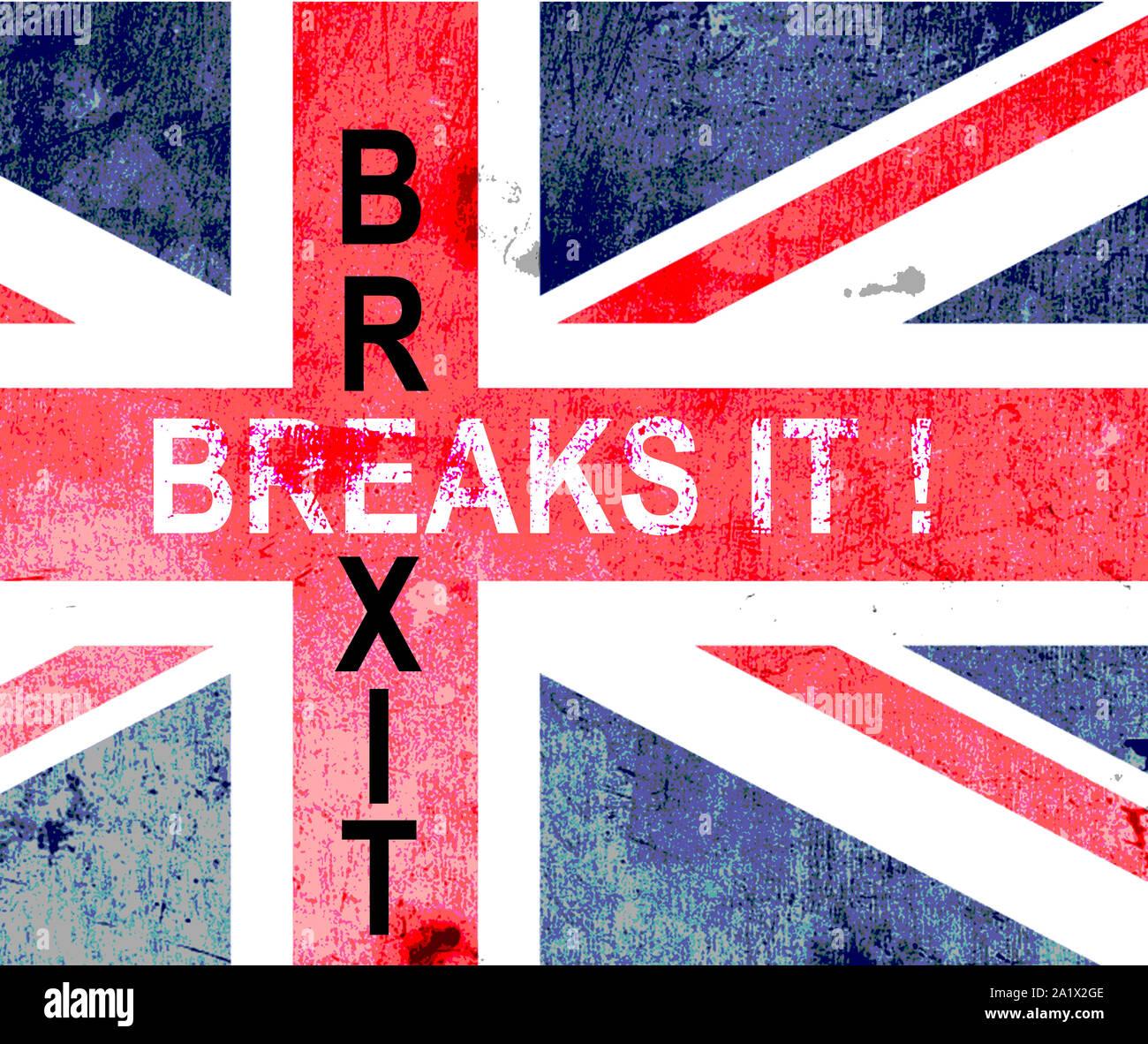 BREXIT, pauses!, grunge UK Union Jack avec le plus de mots. Banque D'Images