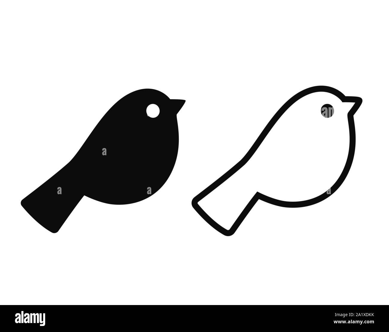 Simple Caricature L Icone D Oiseaux Silhouette Noire Et De Dessins Au Contour Un Minimum D Element De Conception De Logo Illustration Vectorielle Image Vectorielle Stock Alamy