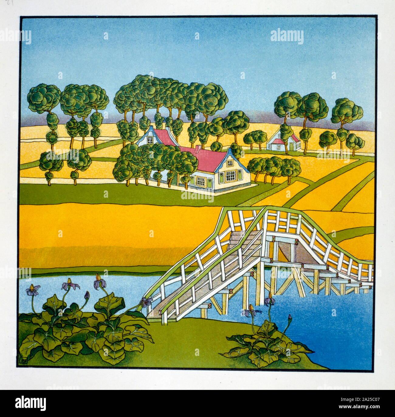 Illustration par M. Franz Melchers (Néerlandais, 1868-1944), à partir de 'Poèmes' par Thomas Braun. 1897 Banque D'Images