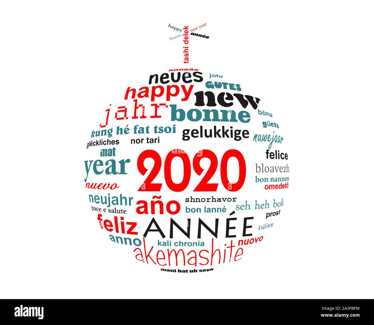 Nouvel an 2020 nuage de mots de texte multilingue carte de