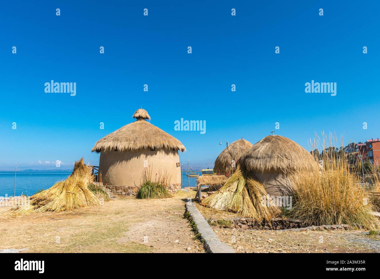 Eco Village andin, musée à Huatajata, village au bord du Lac Titicaca, La Paz, Bolivie, Amérique Latine Banque D'Images