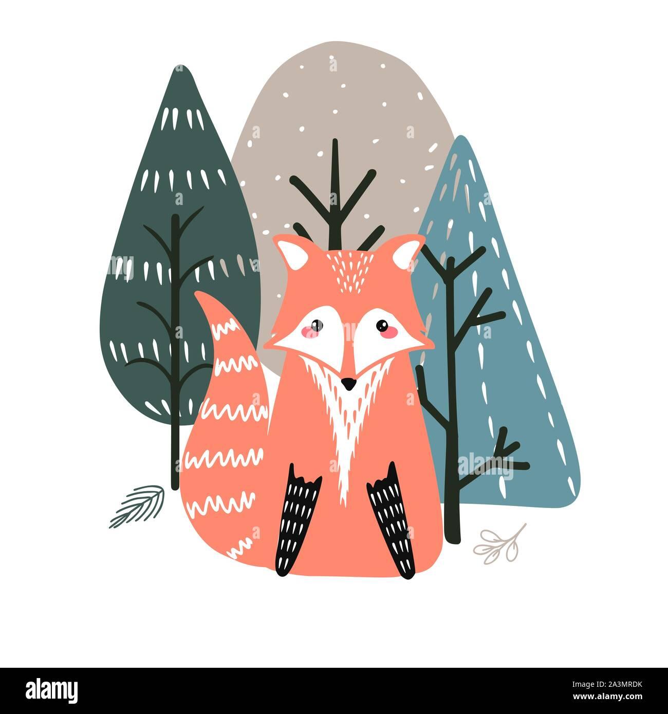 Cute fox sur un fond d'arbres. Illustration à la main dans un style scandinave. Illustration de Vecteur