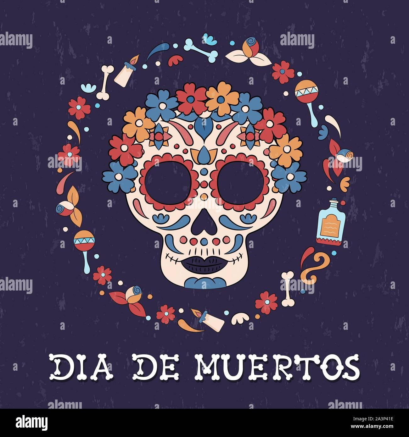 Le Jour des morts crâne en sucre carte de souhaits pour la fête mexicaine. Le Mexique traditionnel, décoration de fleurs et de bougies. Illustration de Vecteur