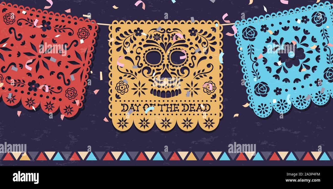 Le Jour des morts carte de souhaits pour la fête mexicaine, le Mexique traditionnel papercut banner décoration avec crânes colorés et partie de confettis. Illustration de Vecteur