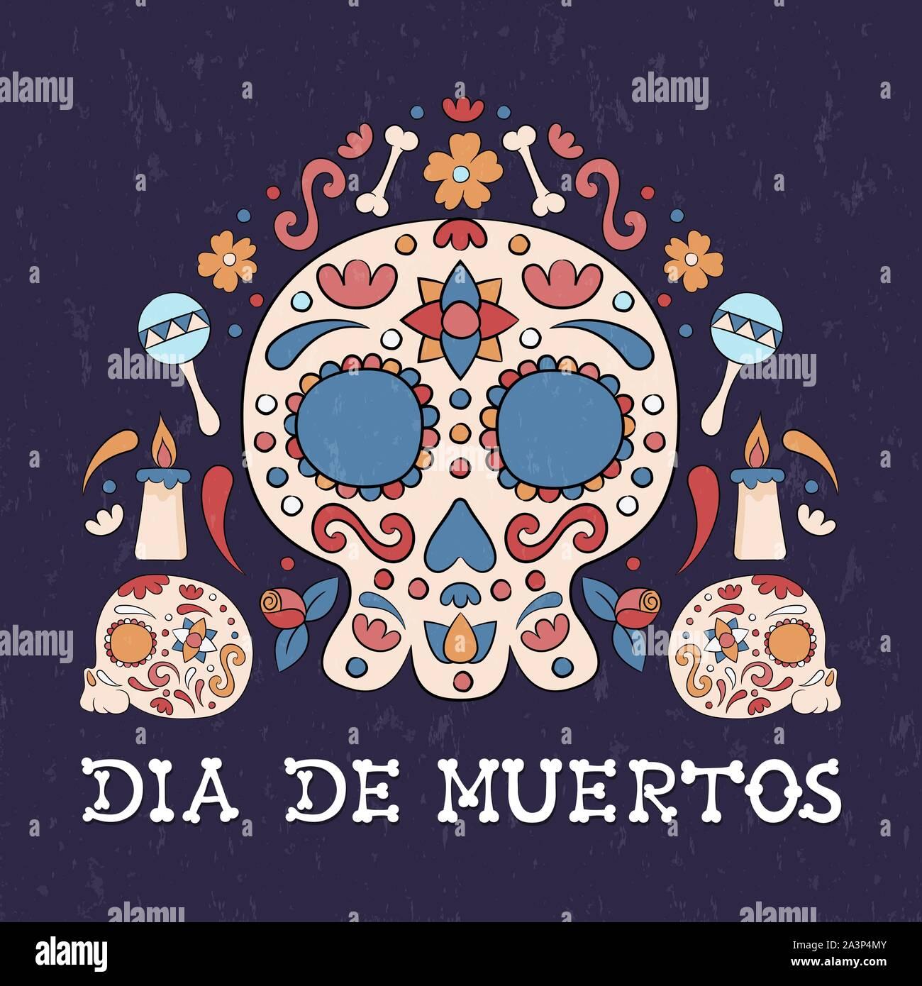 Le Jour des morts mexicain traditionnel, carte de vœux, crâne en sucre, bougies et fleurs illustration pour le mexique maison de l'événement. Illustration de Vecteur