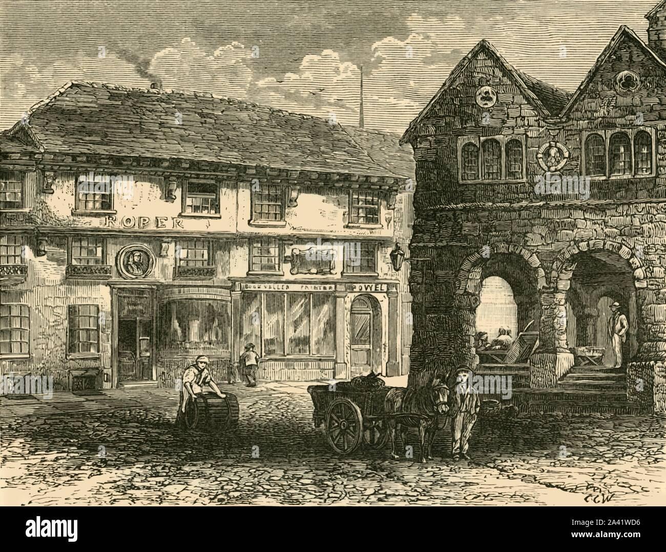 """'Chambre de """"l'homme de Ross""""', 1898. Maison de John Kyrle (1637-1724), connu comme """"l'homme de Ross"""" Anglais philanthrope qui a hérité du domaine familial dont une chambre donnant sur le marché à Ross-on-Wye dans le Herefordshire. À partir de """"notre propre pays, Volume II"""". [Cassell et Company, Limited, Londres, Paris &AMP; Melbourne, 1898] Banque D'Images"""