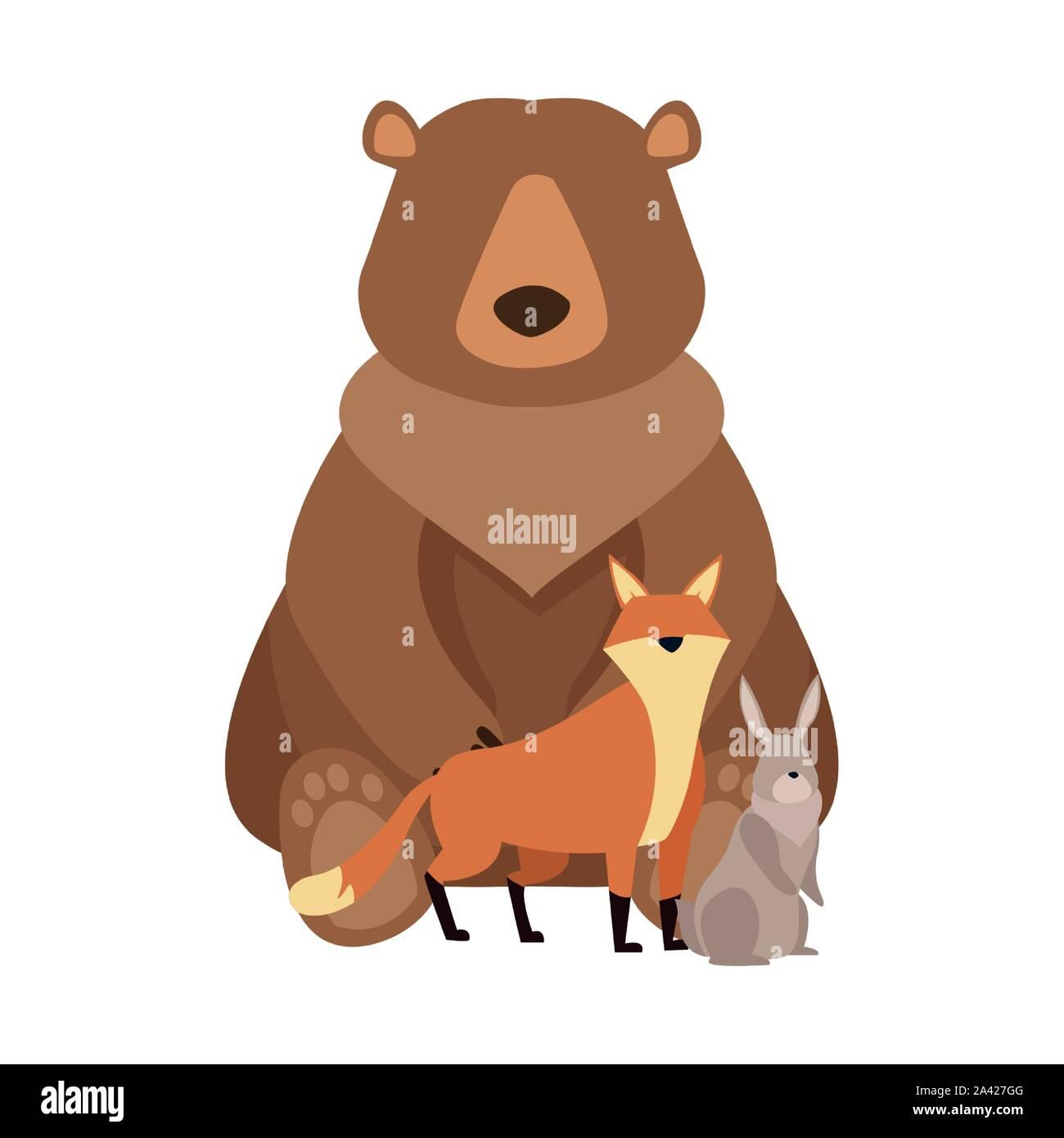 Cartoon ours sauvage et les animaux design Illustration de Vecteur