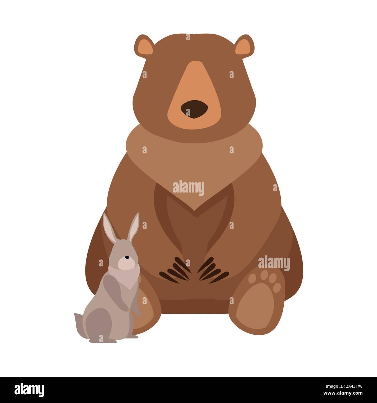 Cartoon ours sauvage et lapin,modèle plat Illustration de Vecteur