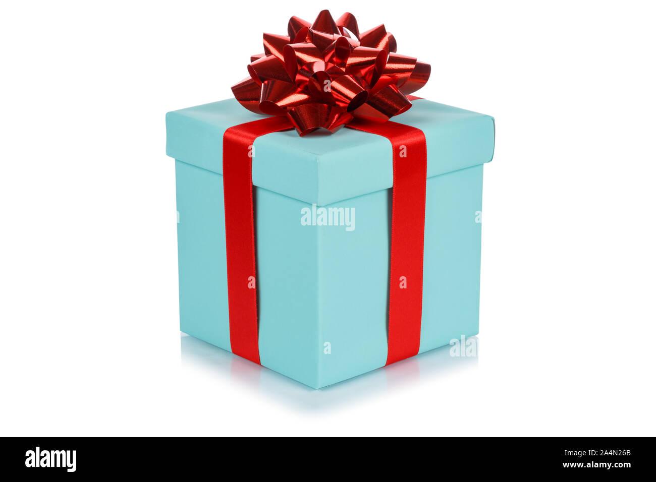 Cadeau anniversaire cadeau de Noël boîte turquoise isolé sur fond blanc Banque D'Images