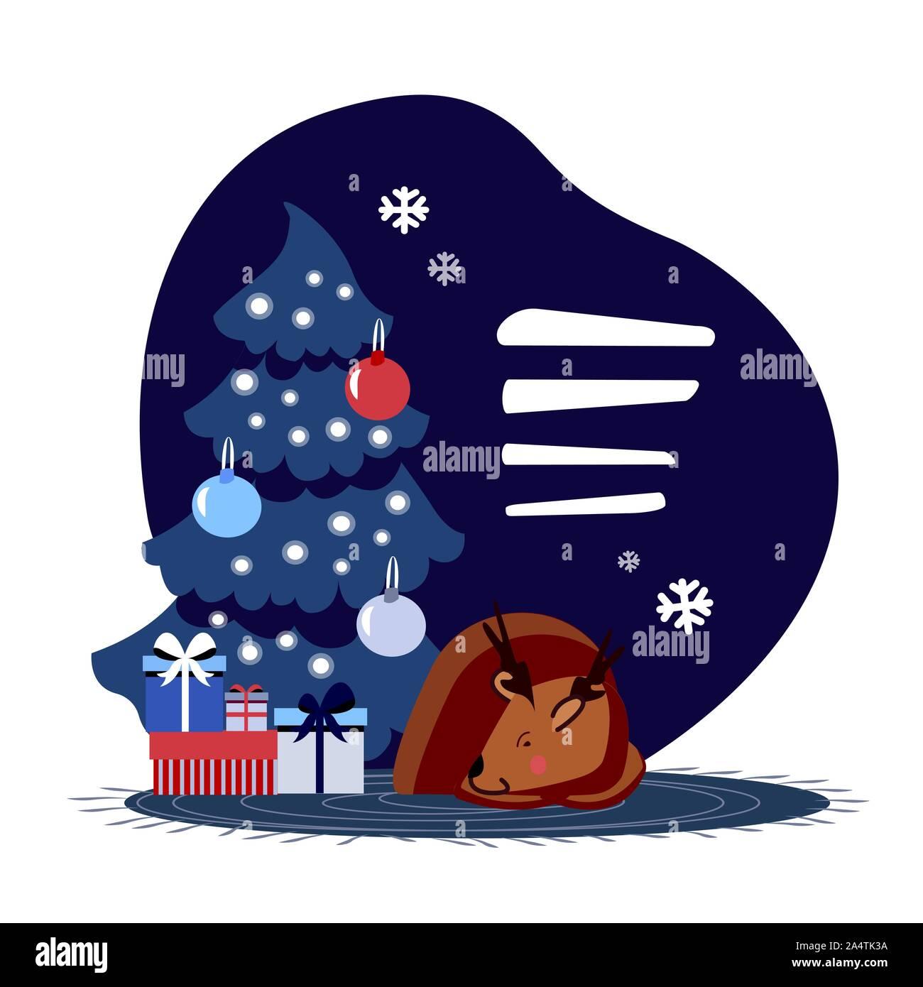 Fairy magic fabuleux deer reposant à la fourrure de scintillement Nouvel An des arbres en face de présente et cadeaux Illustration de Vecteur