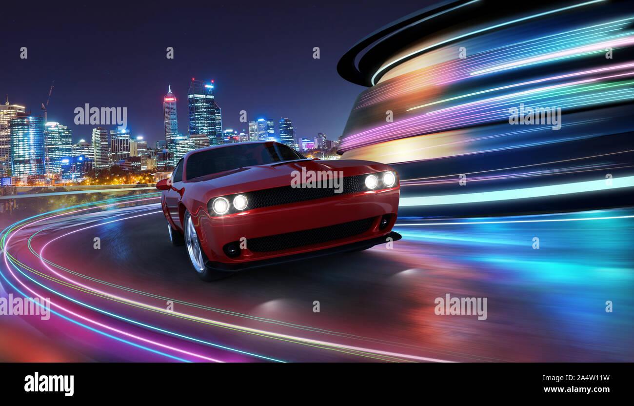 Générique haute vitesse voiture sport rouge la conduite en ville avec neon light motion effet appliqué . Technologie futuriste concept automobile . Le rendu 3D Banque D'Images