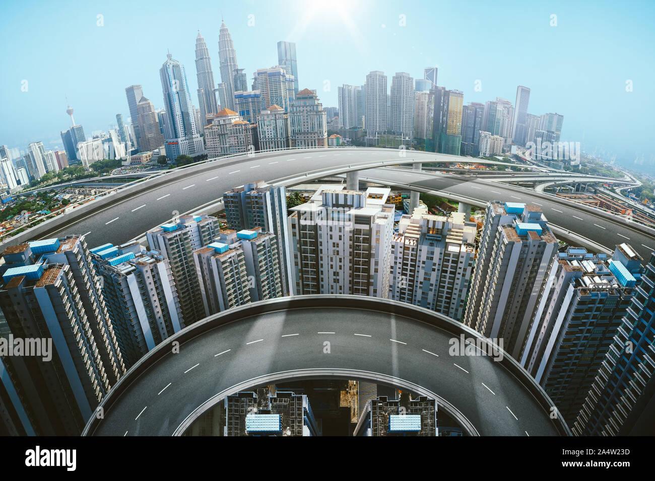 Résumé des relevés aériens et vue panoramique de la route d'asphalte avec de l'autoroute ville moderne contexte . Technique mixte . Banque D'Images