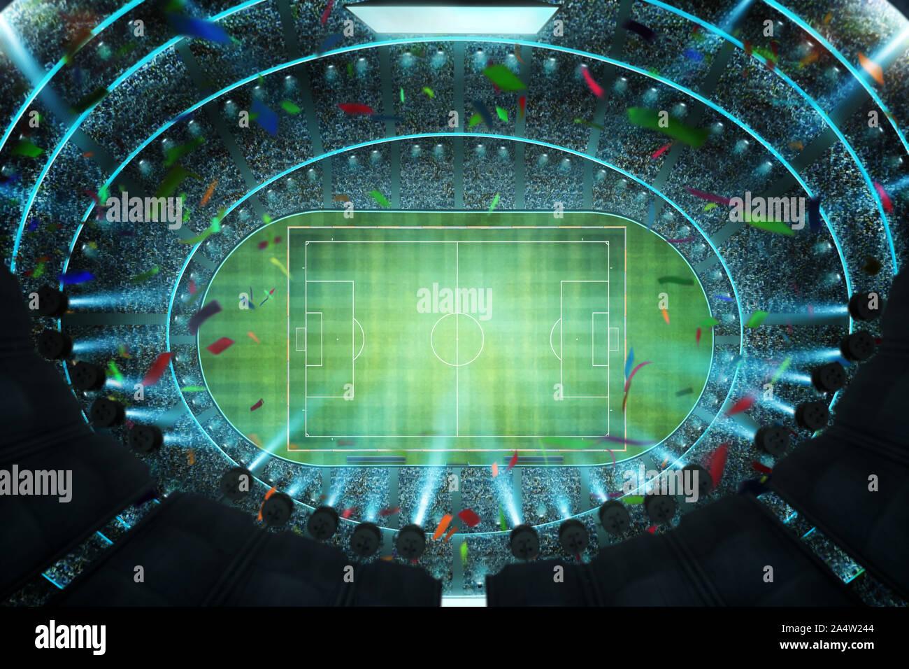 Haut de l'antenne vue d'angle de stade de soccer imaginaire à l'allumage . Le rendu 3D . Banque D'Images