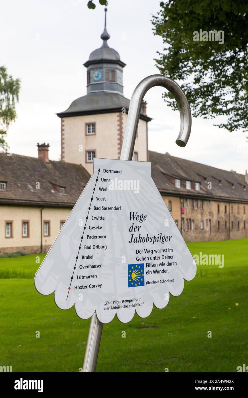 Patrimoine de l'Corlvey château, ancienne abbaye bénédictine Abtei, près de Höxter, Chemin de Compostelle site, Banque D'Images