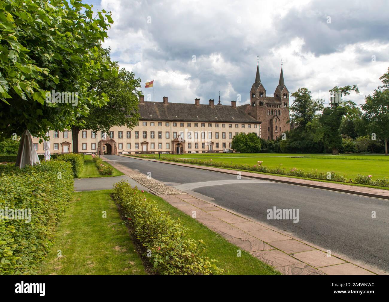 Patrimoine de l'Corlvey château, ancienne abbaye bénédictine Abtei, près de Höxter, Banque D'Images