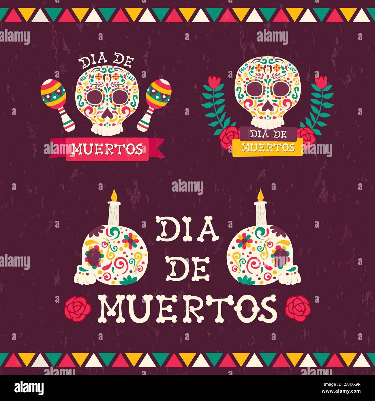 Le Jour des morts les devis établis pour l'événement traditionnel mexicain. Crânes de sucre fête avec des bougies, fleurs et maison de texte. Illustration de Vecteur