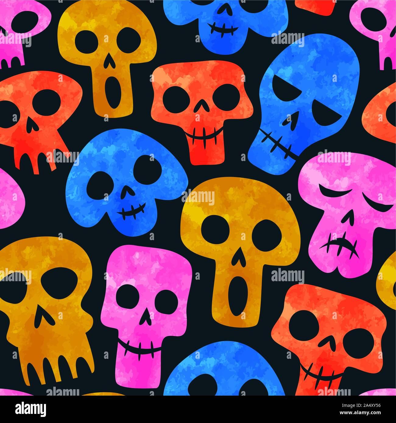 Aquarelle de couleur transparente, motif crâne émoticône funny cartoon squelette visage pour le Jour des morts ou d'halloween de l'arrière-plan. Illustration de Vecteur