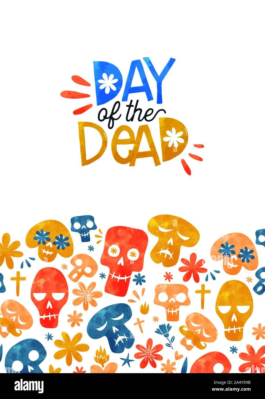 Le Jour des morts l'illustration pour la carte de vœux de l'événement vacances traditionnel mexicain. Funny crâne en sucre et aquarelle décoration florale au Mexique coopération drapeau Illustration de Vecteur