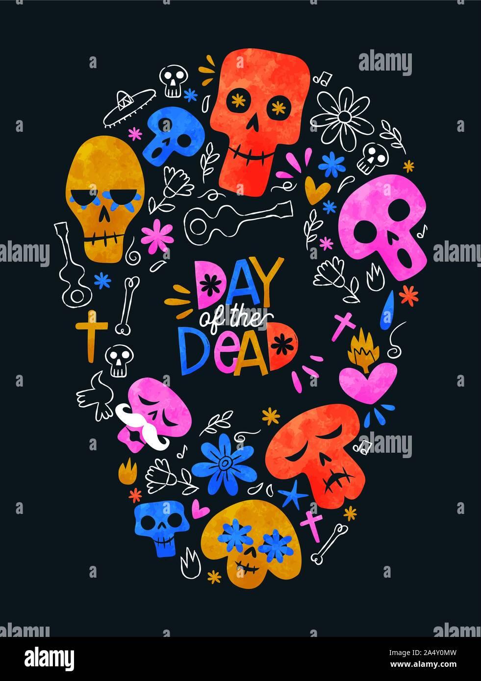 Le Jour des morts Mexican holiday Greeting card, aquarelle de couleur des icônes de la décoration en forme de crâne en sucre pour le mexique traditionnel événement parti. Illustration de Vecteur