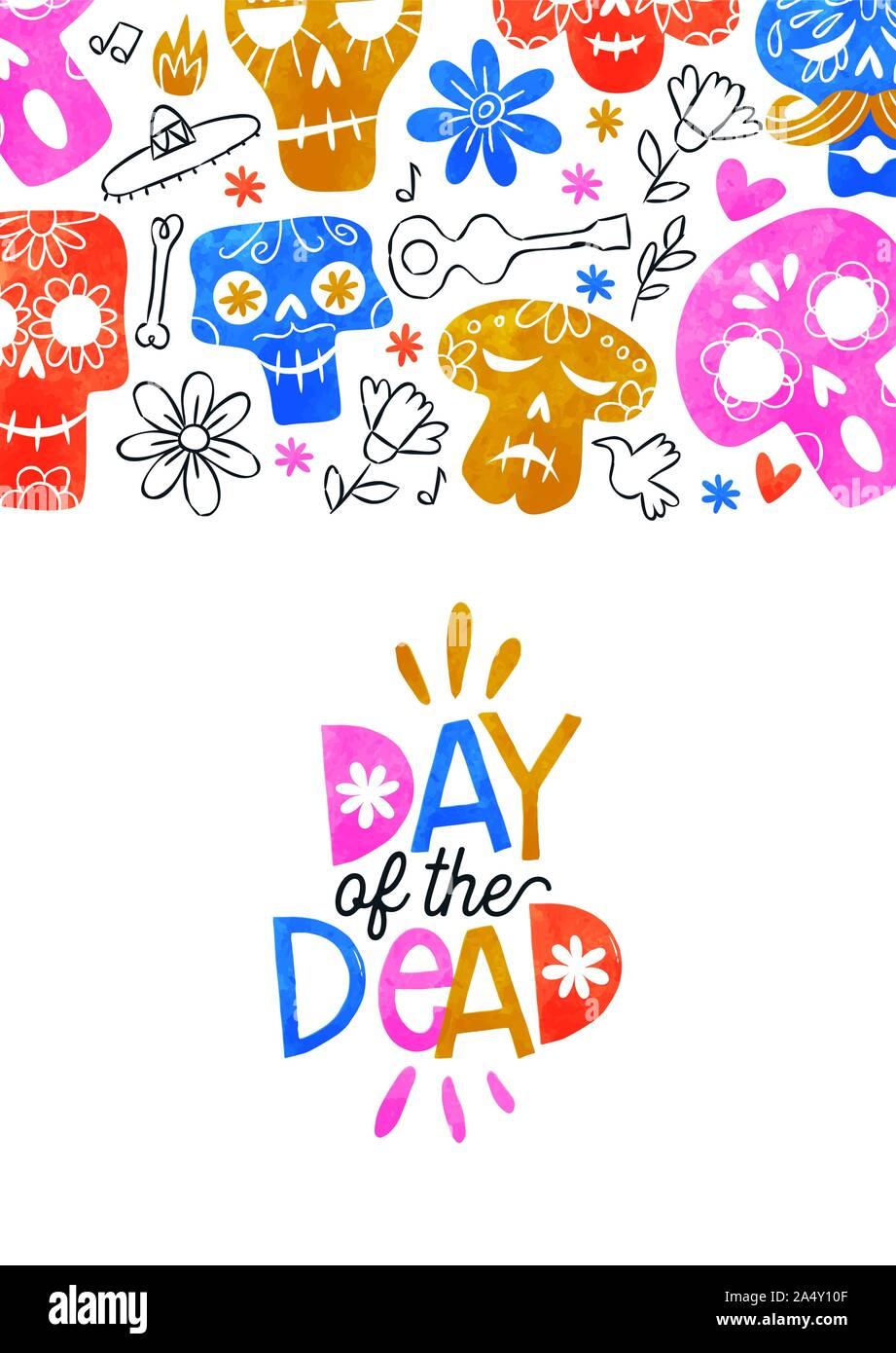 Le Jour des morts, l'illustration de carte de vœux aquarelle colorée crânes en sucre et la culture du Mexique à la main des icônes pour les cas de vacances traditionnelle mexicaine Illustration de Vecteur