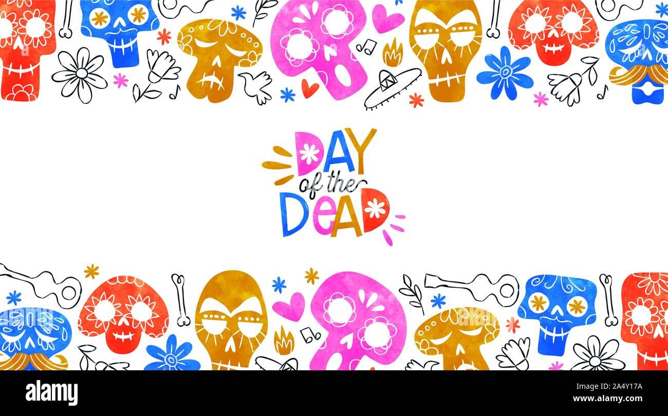 Le Jour des morts, l'illustration de carte de vœux aquarelle colorée et crânes de sucre multicolores dessinés à la main, le Mexique et d'icônes pour la culture mexicaine traditionnelle ho Illustration de Vecteur