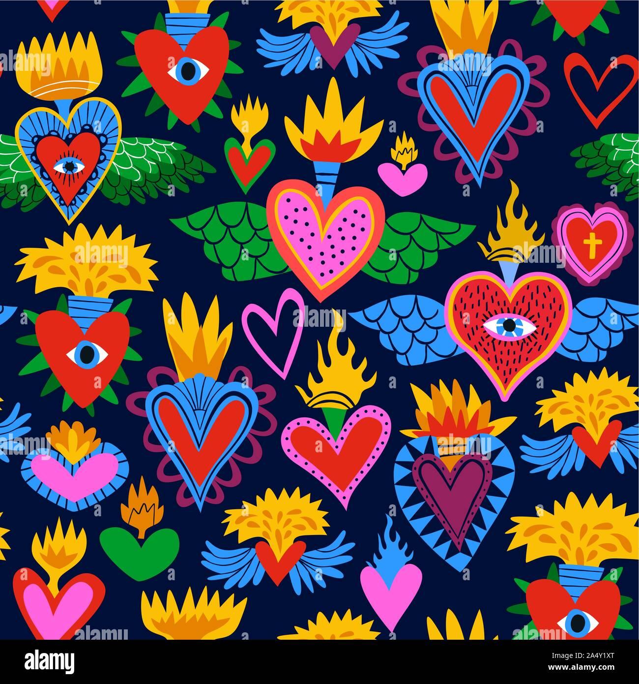 Sacré coeur motif transparent coloré, Hearts on Fire religieux. Télévision cartoon style arrière-plan pour la Saint-Valentin, fête des morts ou religio traditionnelle Illustration de Vecteur