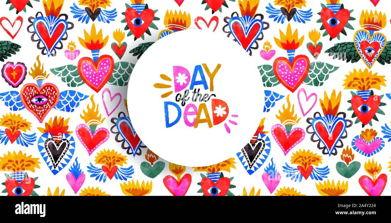 Sacré coeur motif transparent coloré, Hearts on Fire religieux. Fond à l'aquarelle pour la Saint-Valentin, fête des morts ou traditionnelles reli Illustration de Vecteur