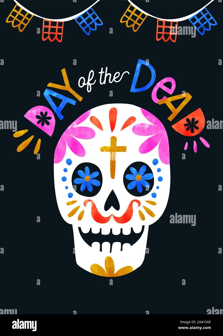 Le Jour des morts, de carte de vœux aquarelle crâne en sucre coloré avec décoration traditionnelle mexicaine. Illustration de Vecteur