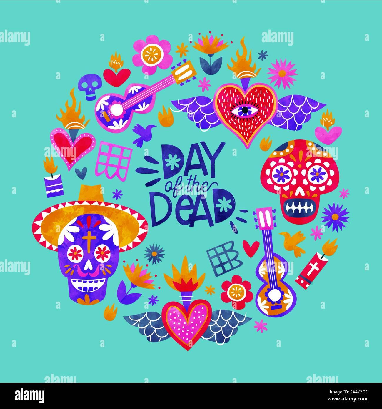 Le Jour des Morts au Mexique, carte de vœux de la culture traditionnelle des icônes dans l'aquarelle colorée. Comprend le sucre crâne, Mexican Hat, une guitare mariachi Illustration de Vecteur