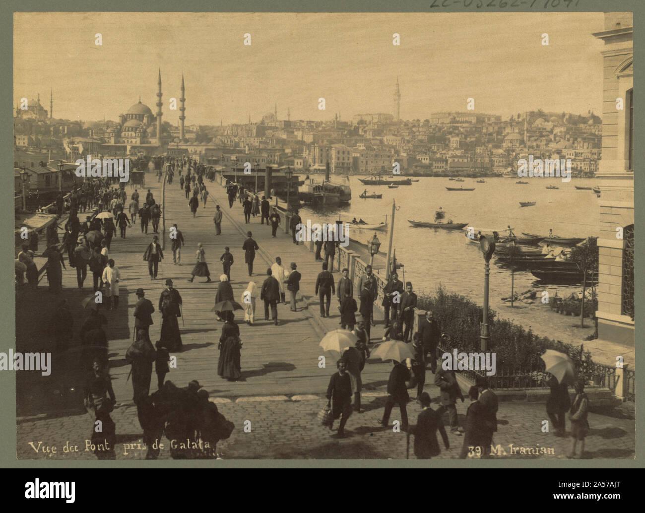 Vue du pont de Galata / M. iranien. Banque D'Images