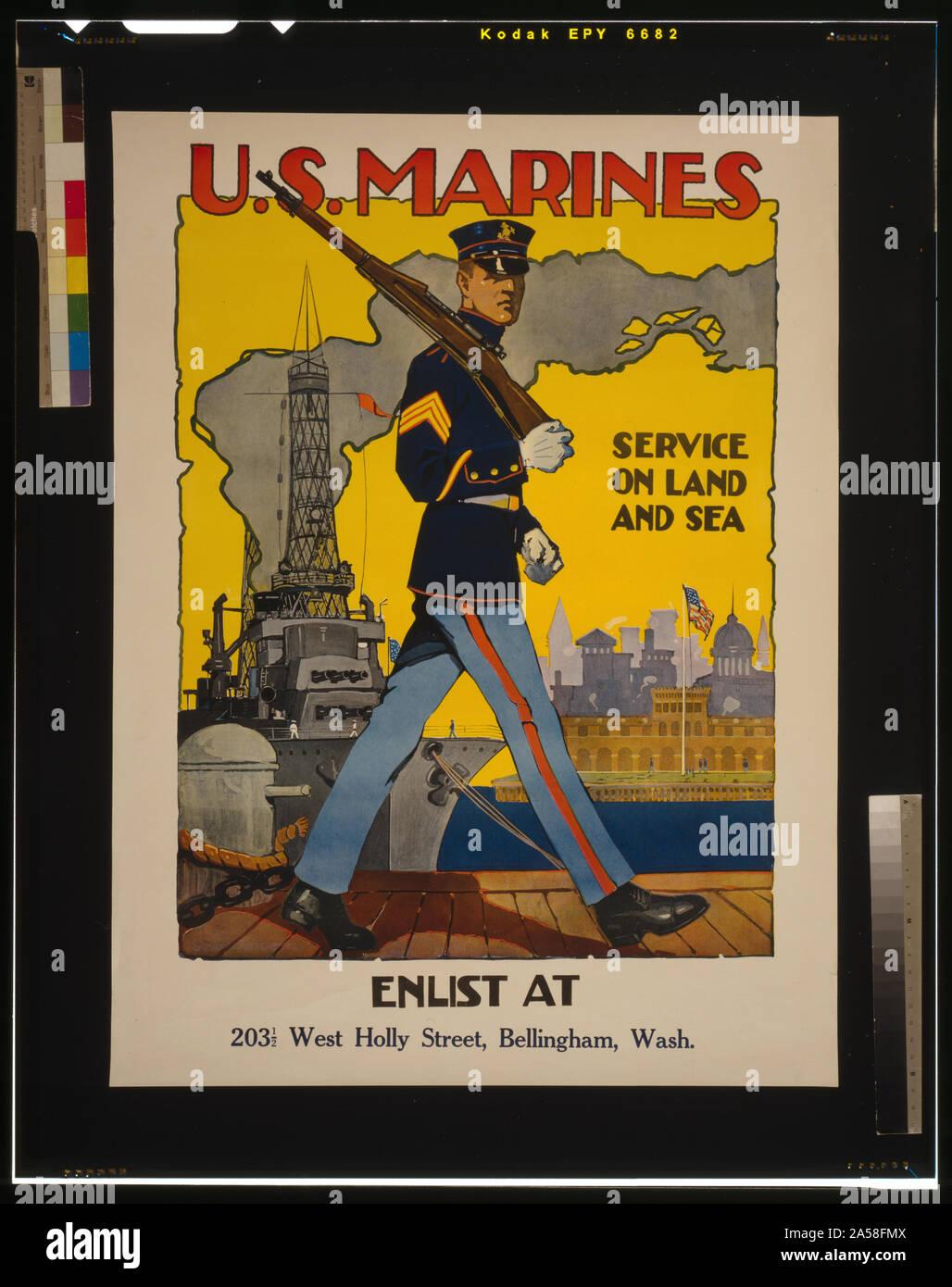 Corps des Marines des États-Unis - Service sur terre et mer / Sidney H. Riesenberg. Banque D'Images