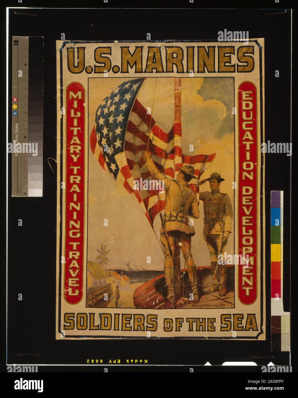Les Marines américains - Des soldats de la formation militaire de la mer, les voyages, l'éducation, le développement / / Sidney H. Riesenberg 1913. Banque D'Images