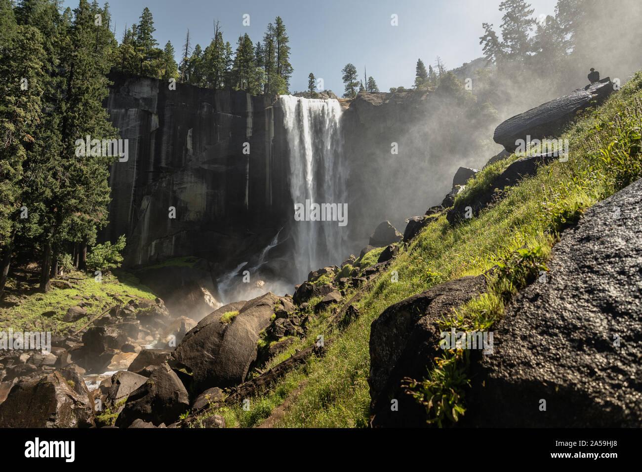 Le Parc National Yosemite en Californie Cascade Nevada Banque D'Images