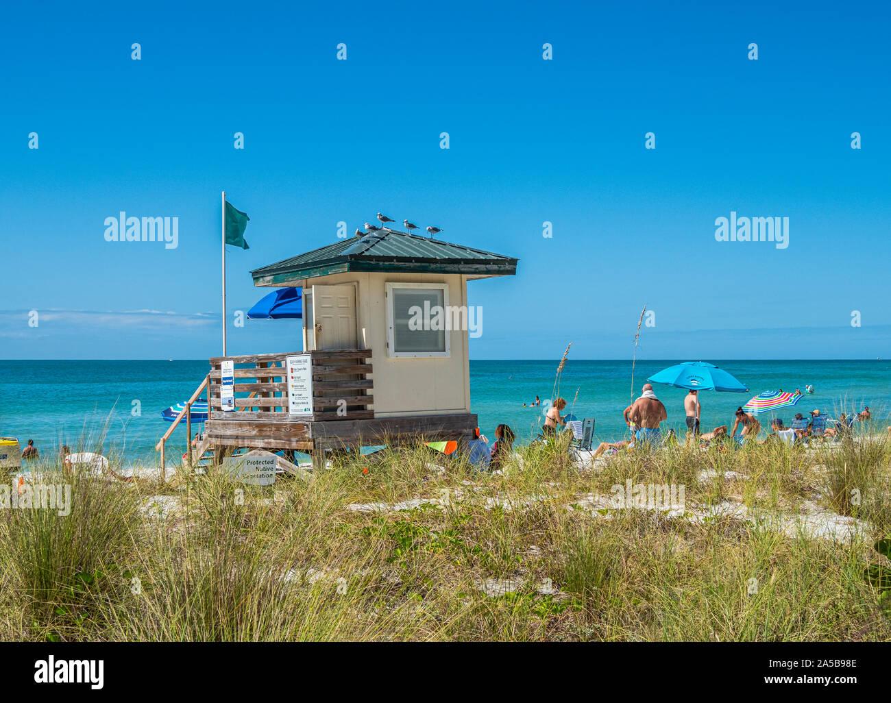Secours sur Lido Key Beach sur le golfe du Mexique à Sarasota en Floride aux États-Unis Banque D'Images