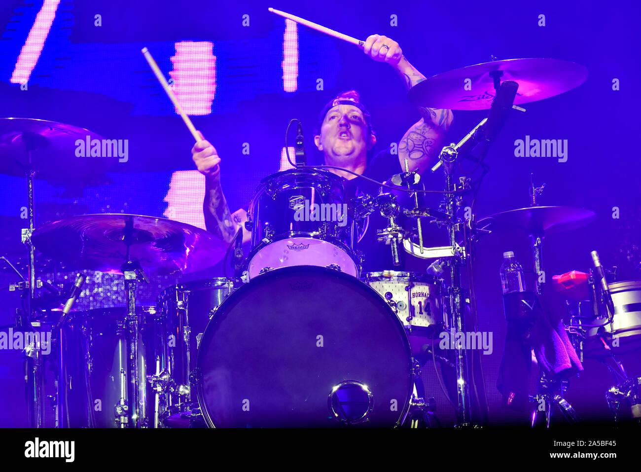 Las Vegas, Nevada, le 18 octobre 2019 - Le batteur pour le groupe l'utilisé à la troisième édition annuelle de Las Stique heavy metal music festival tenu à la Centre-ville de Las Vegas Events Center. Crédit de photo: Ken Howard Images Banque D'Images