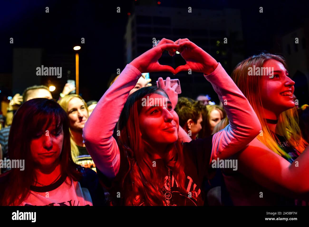 Las Vegas, Nevada, le 18 octobre 2019 - La foule lors de la troisième édition annuelle de Las Stique heavy metal music festival tenu à la Centre-ville de Las Vegas Events Center. Crédit de photo: Ken Howard Images Banque D'Images