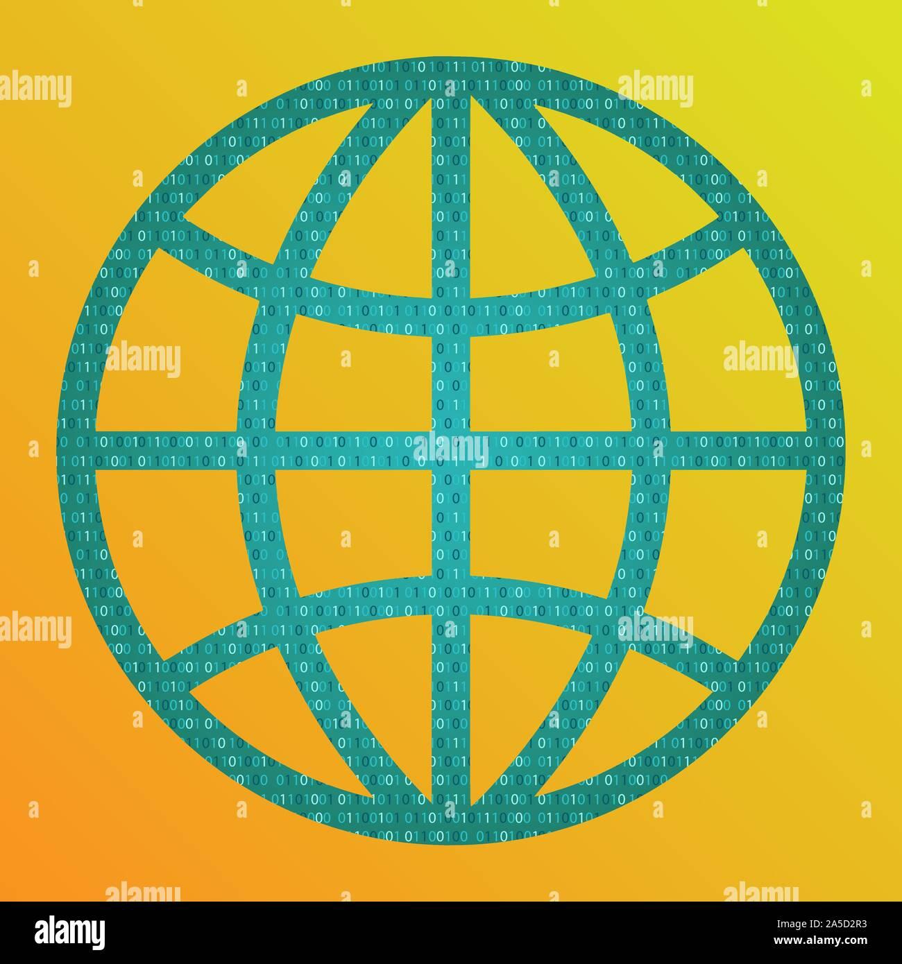 Concept de monde numérique. Globe avec code binaire. Vecteur. Illustration de Vecteur