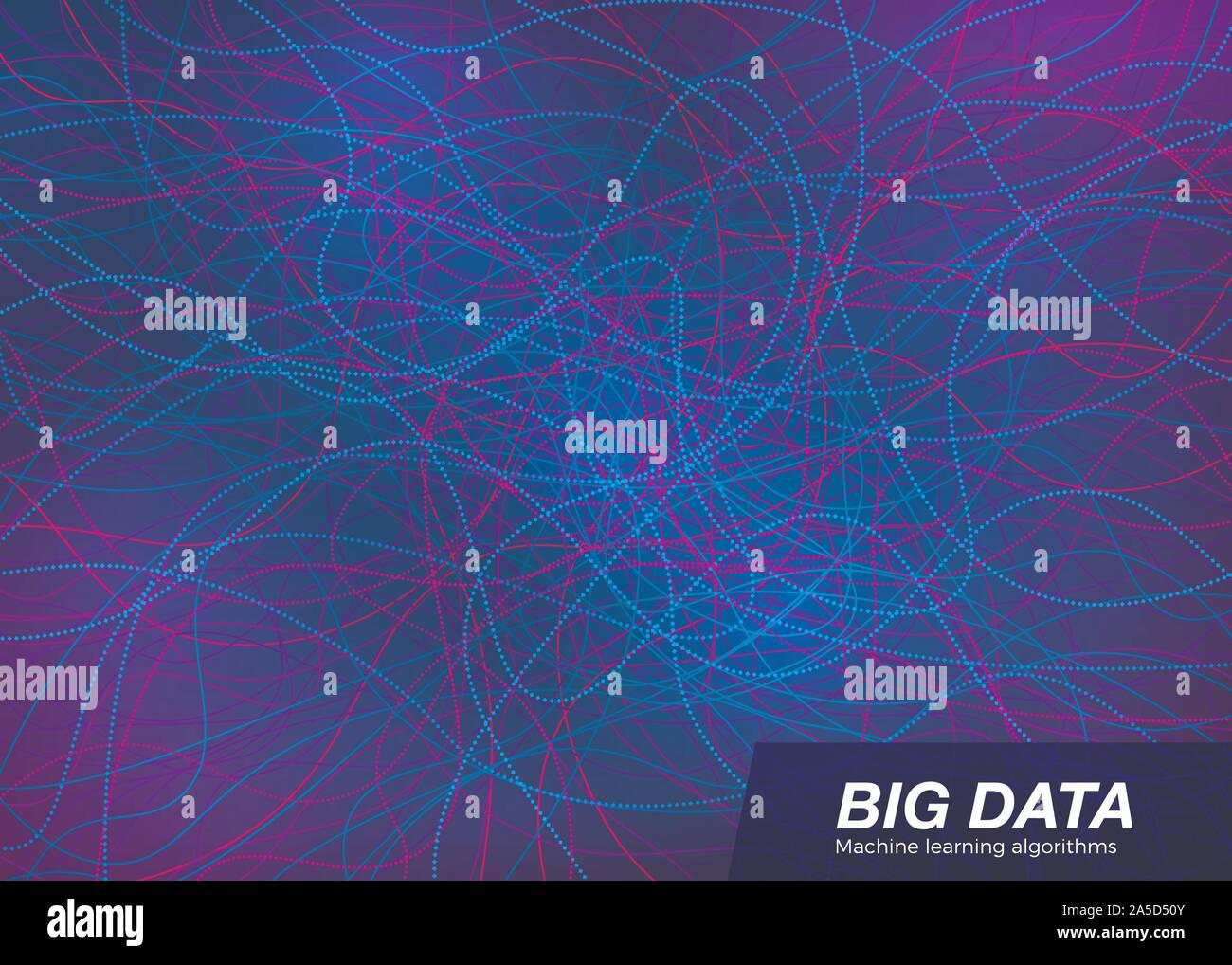 Le Big Data Visual Concept. Résumé Arrière-plan technique. La composition de la musique des vagues. Vector Illustration de Vecteur