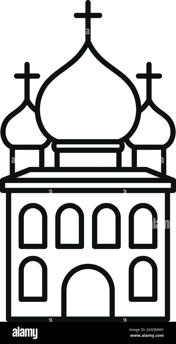 L'icône de l'église orthodoxe. Église orthodoxe icône Contour vectoriel pour le web design isolé sur fond blanc Illustration de Vecteur