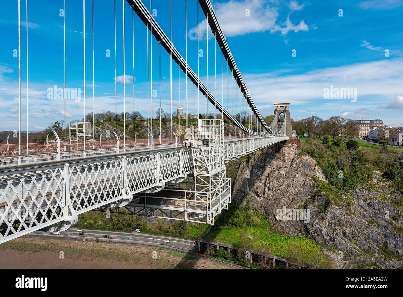 Bristol, Royaume-Uni, avril 2019 - e, vue sur le pont en direction de l'Observatoire à Clifton Banque D'Images