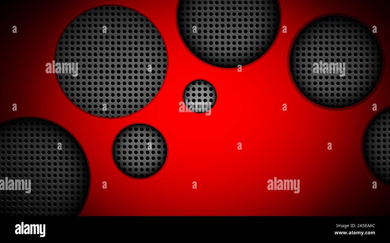 Vecteur gradient rouge fond avec des cercles en métal Illustration de Vecteur