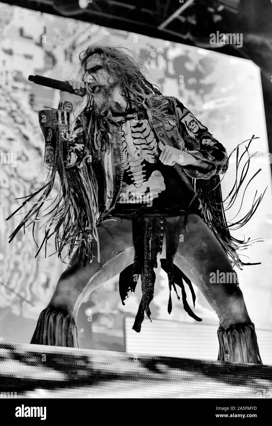 Las Vegas, Nevada, USA. 19 octobre, 2019. Rob Zombie l'exécution en concert à la troisième édition annuelle de Las Stique heavy metal music festival tenu à la Centre-ville de Las Vegas Events Center. Crédit de photo: Ken Howard Crédit Images: Ken Howard/Alamy Live News Banque D'Images