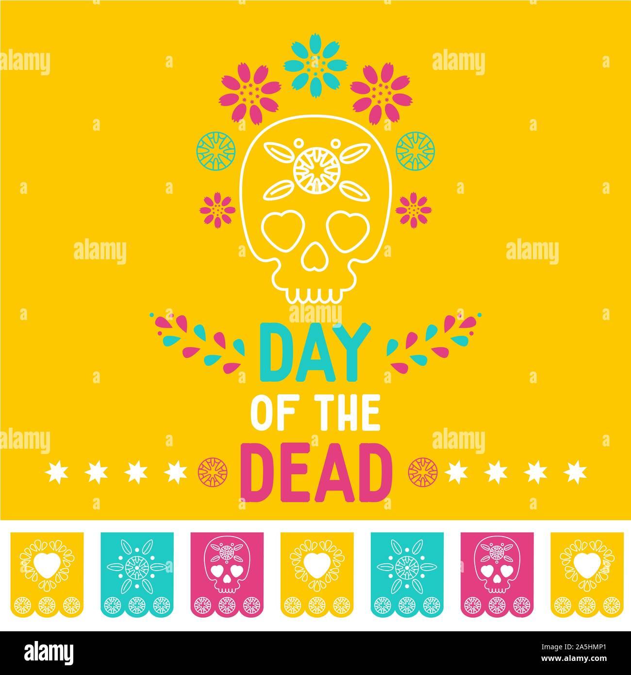 Fête des morts, Dia de los muertos fond jaune, bannière carrée, carte de vœux. Vector illustration avec crâne en sucre ou calavera, fleurs Illustration de Vecteur