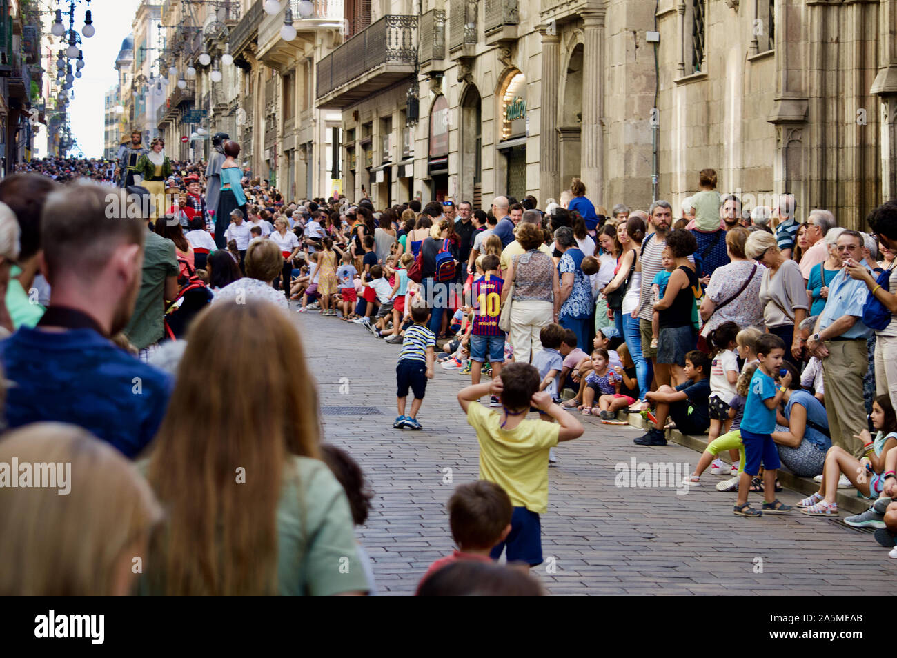 Les Géants défilent lors du Festival 2019 La Merce à Plaça de Sant Jaume de Barcelone, Espagne Banque D'Images