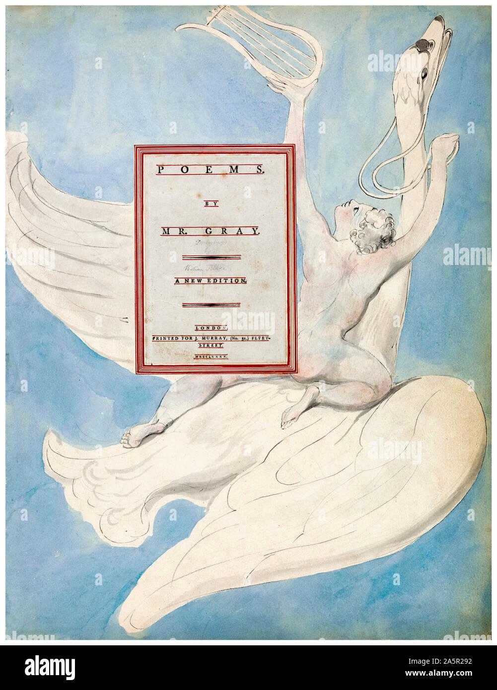 """William Blake, les poèmes de Thomas Gray, Page de titre, """"Le Génie Pindaric recevant sa lyre"""", peinture, 1797-1798 Banque D'Images"""